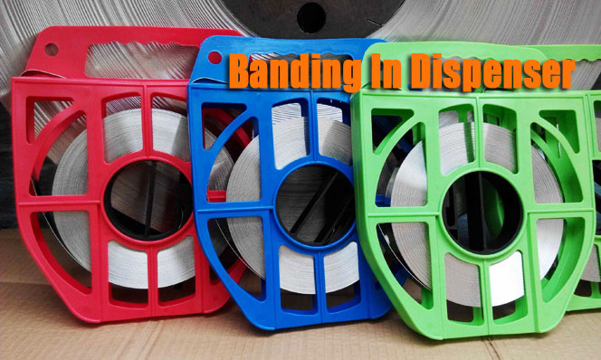 Stainless Steel Banding in Plastic Dispenser